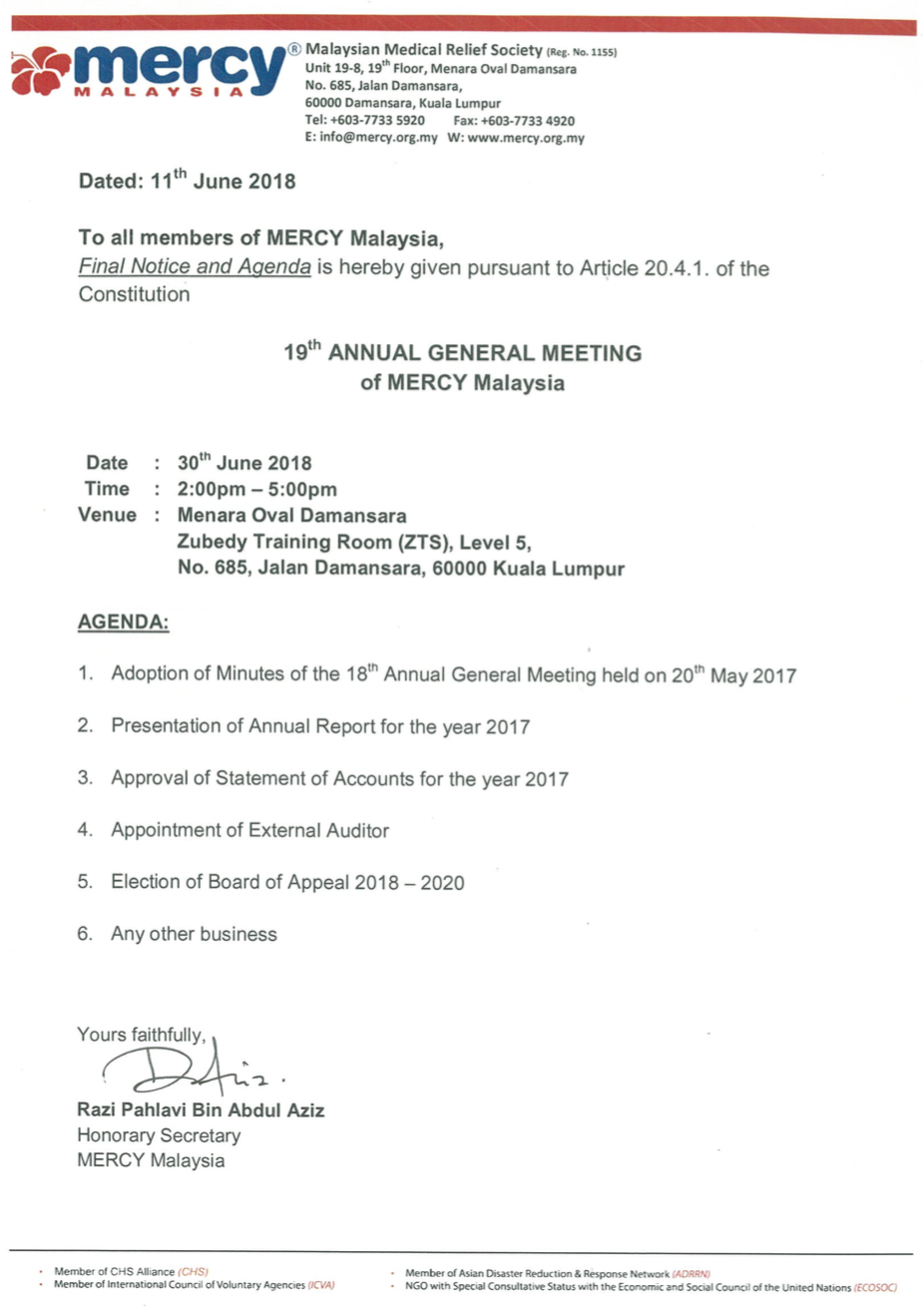 Notice Of Meeting And Agenda Sample from www.mercy.org.my